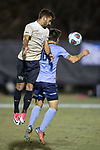 Bruno Lapa (10) of the Wake Forest Demon Deacons heads the ball away from Danny Laranetto (16) of the Columbia Lions during the second round action of the 2017 NCAA Men's Soccer Championship at Spry Soccer Stadium on November 19, 2017 in Winston-Salem, North Carolina.  The Demon Deacons defeated the Lions 1-0.  (Brian Westerholt/Sports On Film)