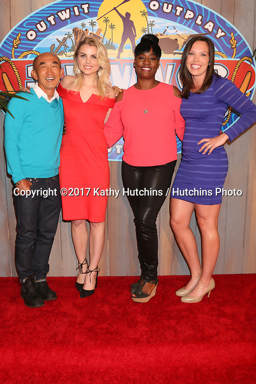 "LOS ANGELES - MAY 24:  Tai Trang, Andrea Boehlke, Cirie Fields, Sarah Lacina at the ""Survivor: Game Changers - Mamanuca Islands"" Finale at the CBS Studio Center on May 24, 2017 in Studio City, CA"