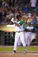 Jeter Downs (2) of the Dayton Dragons at bat against the Bowling Green Hot Rods at Fifth Third Field on June 8, 2018 in Dayton, Ohio. The Hot Rods defeated the Dragons 11-4.  (Brian Westerholt/Four Seam Images)