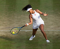 Naomi Osaka of Japan in action during her defeat by Venus Williams (10) of United States in their Ladies' Singles Third Round Match today - Williams def Osaka 7-6, 6-4<br /> <br /> Photographer Ashley Western/CameraSport<br /> <br /> Wimbledon Lawn Tennis Championships - Day 5 - friday 7th July 2017 -  All England Lawn Tennis and Croquet Club - Wimbledon - London - England<br /> <br /> World Copyright &not;&copy; 2017 CameraSport. All rights reserved. 43 Linden Ave. Countesthorpe. Leicester. England. LE8 5PG - Tel: +44 (0) 116 277 4147 - admin@camerasport.com - www.camerasport.com