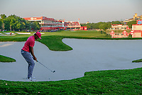Tony Finau (USA) in the 18th fairway bunker during the 3rd round at the WGC HSBC Champions 2018, Sheshan Golf CLub, Shanghai, China. 27/10/2018.<br /> Picture Fran Caffrey / Golffile.ie<br /> <br /> All photo usage must carry mandatory copyright credit (&copy; Golffile | Fran Caffrey)