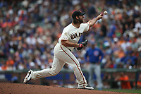 SAN FRANCISCO, CA - AUGUST 9:  Madison Bumgarner #40 of the San Francisco Giants pitches against the Chicago Cubs during the game at AT&T Park on Wednesday, August 9, 2017 in San Francisco, California. (Photo by Brad Mangin)