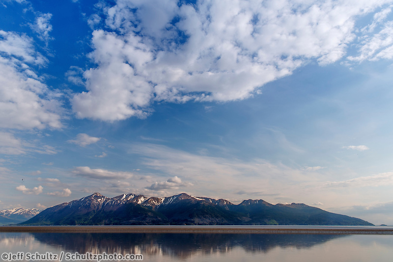 View of Turnagain Arm &amp; Kenai Mountains next to Seward Highway  Summer.  Anchorage, Alaska<br />
