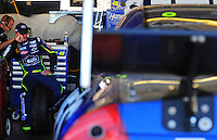 Nov. 8, 2008; Avondale, AZ, USA; NASCAR Sprint Cup Series driver Jimmie Johnson during practice for the Checker Auto Parts 500 at Phoenix International Raceway. Mandatory Credit: Mark J. Rebilas-