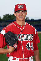 Batavia Muckdogs pitcher Justin Jacome (44) poses for a photo on July 8, 2015 at Dwyer Stadium in Batavia, New York.  (Mike Janes/Four Seam Images)