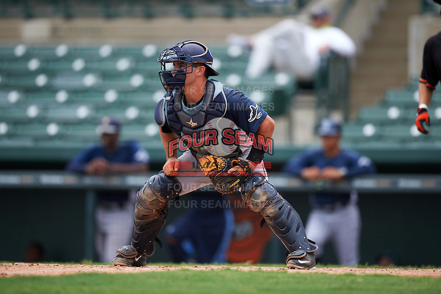 GCL Rays catcher Samm Wiggins (39) waits for a throw during the second game of a doubleheader against the GCL Orioles on August 1, 2015 at the Ed Smith Stadium in Sarasota, Florida.  GCL Orioles defeated the GCL Rays 11-4.  (Mike Janes/Four Seam Images)
