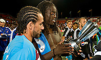 MLS All Star players observe the winning trophy at BMO Field on July 24, 2008. The final score was 3-2 for the MLS All Stars.