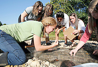 NWA Democrat-Gazette/DAVID GOTTSCHALK  Jane Maginot (left), with the Washington County Extension Service, collects samples from a kick and pick net with Fayetteville High School students in the Outdoor Education Class Wednesday, September 16, 2015 in Clear Creek in Johnson. The class, taught by Laura Ring, was assessing the water quality based on the biodiversity benthic organisms.