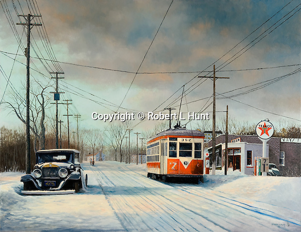"TARS trolley moving through winter afternoon snow past a Texaco gas station in Yonkers NY, Third Avenue Rail System public transportation circa 1949. Oil on canvas, 31"" x 40""."