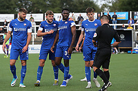 Referee Garreth Rhodes gets ready to show a yellow card to Chesterfield's Mike Fondop-Talom (No 36) after an altercation at the final whistle during Bromley vs Chesterfield, Vanarama National League Football at the H2T Group Stadium on 7th September 2019