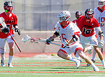Palos Verdes, CA 03/26/16 - Jarrett Jones (Palos Verdes #6) and Sander Lush (San Clemente #8) in action during the CIF Boys Lacrosse game between San Clemente Tritons and the Palos Verdes Seakings at Palos Verdes High School.  Palos Verdes defeated San Clemente 11-6