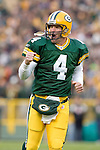 Green Bay Packers quarterback Brett Favre (4) celebrates during an NFL football game against the Minnesota Vikings at Lambeau Field on November 14, 2004 in Green Bay, Wisconsin. The Packers defeated the Vikings 34-31. (Photo by David Stluka)