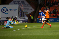16th November 2019; Tannadice Park, Dundee, Scotland; Scottish Championship Football, Dundee United versus Queen of the South; Sam Stanton of Dundee United scores for 3-0 in the 49th minute - Editorial Use