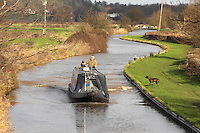 Canal boat on the Trent and Mersey canal, Branston, Burton upon Trent, Staffordshire.