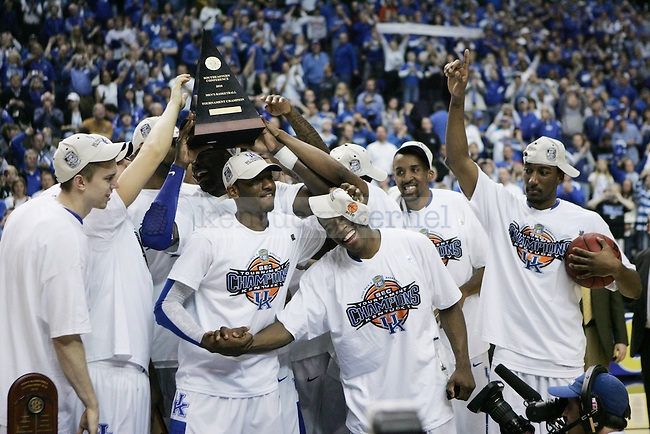 The UK men's basketball team celebrates UK's SEC championship win over Mississippi State  Bridgestone Arena in the SEC Finals on Sunday, March 14, 2010. Photo by Britney McIntosh | Staff