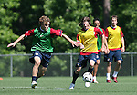 12 May 2006: Chris Albright (l) is chased by John O'Brien (r) during a scrimmage. The United States' Men's National Team trained at SAS Soccer Park in Cary, NC, in preparation for the 2006 FIFA World Cup tournament to be played in Germany from June 9 through July 9, 2006.