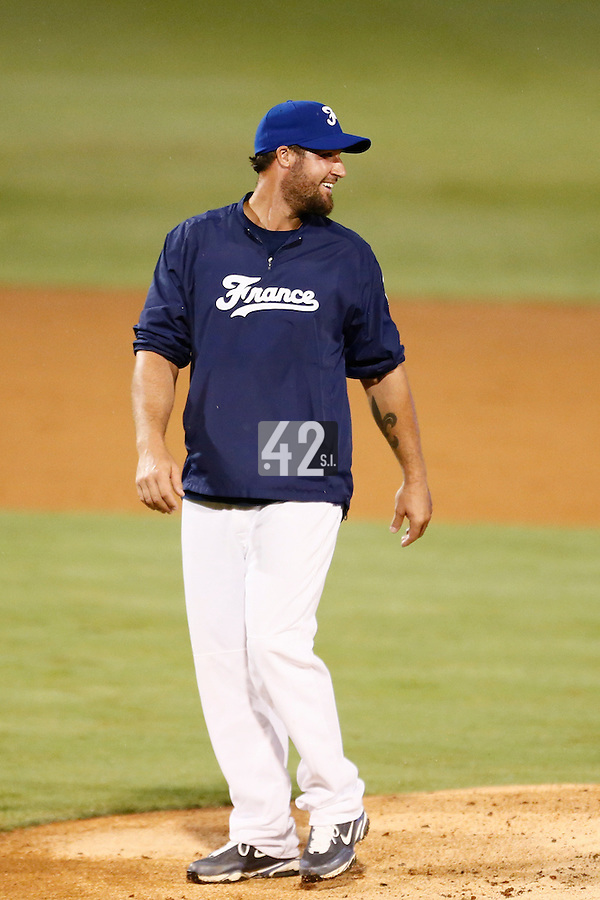 21 September 2012: Pitching coach Eric Gagne is seen during France vs South Africa tie game 2-2, rain delayed at the end of the 9th inning at 1 AM, during the 2012 World Baseball Classic Qualifier round, in Jupiter, Florida, USA. Game to resume 22 September 2012 at noon.