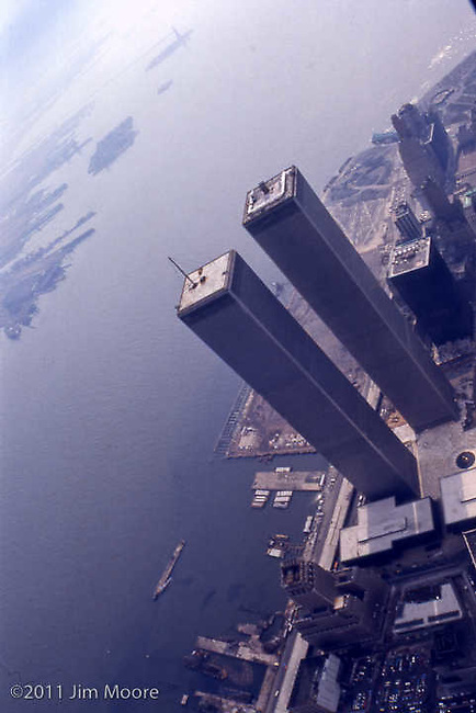 Aerial helicopter view of WTC and lower Manhattan