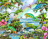 Lori, REALISTIC ANIMALS, REALISTISCHE TIERE, ANIMALES REALISTICOS, paintings+++++Leaping Lizards_4_72,USLS29,#A#, EVERYDAY ,puzzles