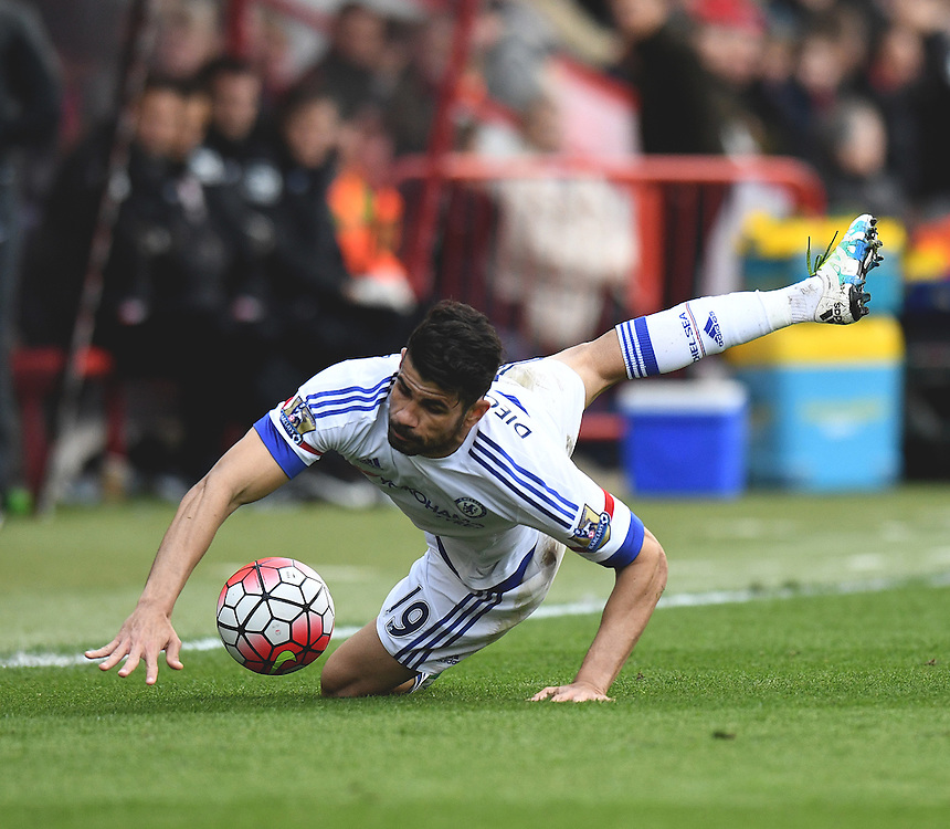 Chelsea's Diego Costa brought down by Bournemouth's Steve Cook <br /> <br /> Bournemouth 1 - 4 Chelsea 4<br /> <br /> Photographer David Horton/CameraSport<br /> <br /> Football - Barclays Premiership - Bournemouth v Chelsea - Saturday 23rd April 2016 - Vitality Stadium - Bournemouth<br /> <br /> &copy; CameraSport - 43 Linden Ave. Countesthorpe. Leicester. England. LE8 5PG - Tel: +44 (0) 116 277 4147 - admin@camerasport.com - www.camerasport.com