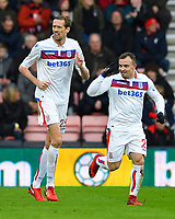 Xherdan Shaqiri of Stoke City celebrates his goal with Peter Crouch of Stoke City during AFC Bournemouth vs Stoke City, Premier League Football at the Vitality Stadium on 3rd February 2018