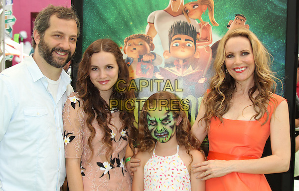 "Judd Apatow, Leslie Mann & daughters (Iris & Maude) .""ParaNorman"" Los Angeles Premiere held at AMC CityWalk Stadium 19 Theatre, Universal City, California, USA..August 5th, 2012.half length father dad sisters siblings married husband wife mother mom mum children kids beard facial hair white shirt beige dress pink orange white make-up face paint .CAP/ADM/RE.©Russ Elliot/AdMedia/Capital Pictures."