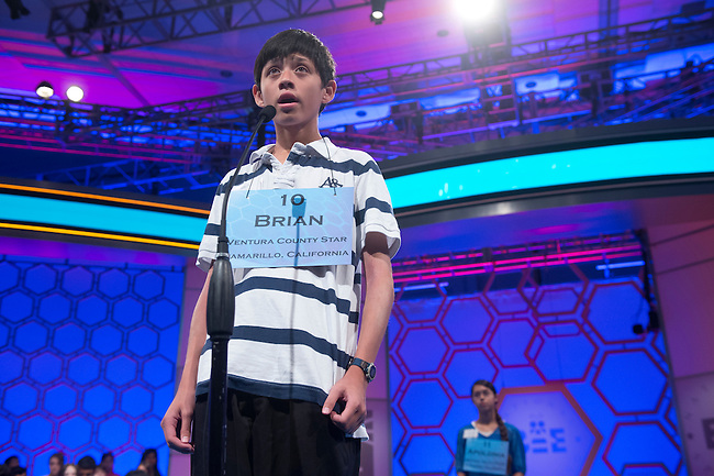 Speller 10 Brian Jeffers competes in the preliminary rounds of the Scripps National Spelling Bee at the Gaylord National Resort and Convention Center in National Habor, Md., on Wednesday,  May 30, 2012. Photo by Bill Clark