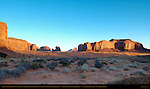 Monument Valley North Landscape at Sunrise, Mitchell Mesa, Elephant Butte, East Mitten, Big Chair and Spearhead Mesa, Monument Valley Navajo Tribal Park, Navajo Nation Reservation, Utah/Arizona Border