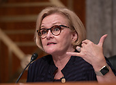 """United States Senator Claire McCaskill (Democrat of Missouri), ranking member, US Senate Committee on Homeland Security & Governmental Affairs, makes an opening statement prior to hearing testimony on """"Examining CMS's Efforts to Fight Medicaid Fraud and Overpayments"""" on Capitol Hill in Washington, DC on Tuesday, August 21, 2018.<br /> Credit: Ron Sachs / CNP"""
