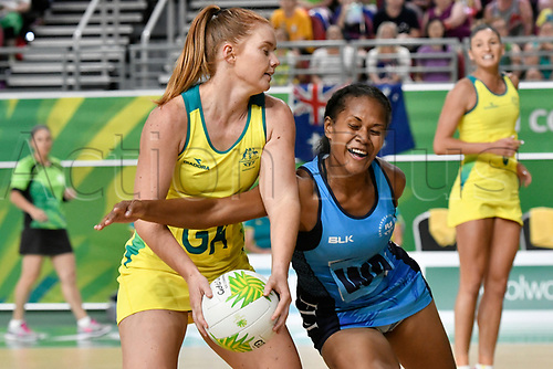 9th April 2018, Gold Coast Convention and Exhibition Centre, Gold Coast, Australia; Commonwealth Games day 5; Netball, Australia versus Fiji; Verenaisi Sawana of Fiji tries to intercept a pass to Steph Wood of Australia