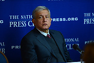 Washington, DC - March 15, 2017: Mexican presidential candidate Andrés Manuel López Obrador speaks to members of the press at the National Press Club inn the District of Columbia, March 15, 2017.   López Obrador served as mayor of Mexico City from 2000 to 2005, before mounting two presidential campaigns in 2006 and 2012. (Photo by Don Baxter/Media Images International)