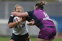 Picture by Paul Currie/SWpix.com - 07/10/2017 - Rugby League - Women's Super League Grand Final - Bradford Bulls v Featherstone Rovers - Regional Arena, Manchester, England - Lois Forsell of Bradford Bulls is tackled by Emma Slone of Featherstone Rovers