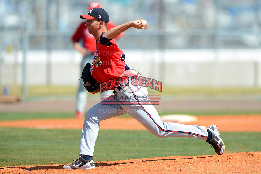 Atlanta Braves pitcher Chasen Shreve #76 during a minor league Spring Training game against the Philadelphia Phillies at Al Lang Field on March 14, 2013 in St. Petersburg, Florida.  (Mike Janes/Four Seam Images)