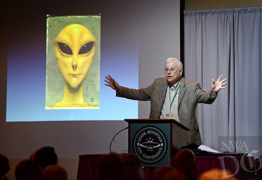 NWA Democrat-Gazette/BEN GOFF @NWABENGOFF<br /> Whitley Strieber, a novelist from Texas, speaks about close encounters and unidentified flying object phenomena on Saturday April 9, 2016 during the 29th annual Ozark Mountain UFO Conference at the Best Western Inn of the Ozarks in Eureka Springs.