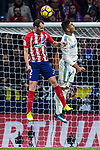 Diego Roberto Godin Leal of Atletico de Madrid competes for the ball with Carlos Henrique Casemiro of Real Madrid during the La Liga 2017-18 match between Atletico de Madrid and Real Madrid at Wanda Metropolitano  on November 18 2017 in Madrid, Spain. Photo by Diego Gonzalez / Power Sport Images