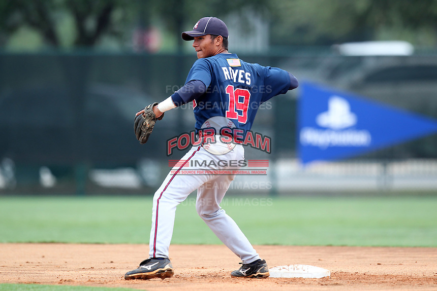 GCL Braves second baseman Geraldo Reyes #19 during a game against the GCL Pirates at Disney Wide World of Sports on June 25, 2011 in Kissimmee, Florida.  The Pirates defeated the Braves 5-4 in ten innings.  (Mike Janes/Four Seam Images)
