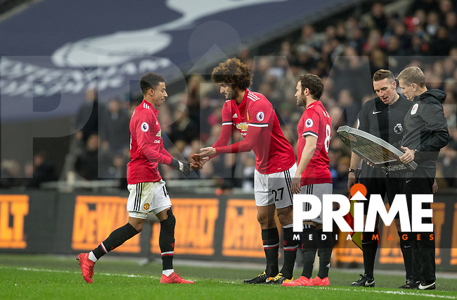Marouane Fellaini of Man Utd comes on as a substitute in place of Jesse Lingard of Man Utd but comes back off a short while after during the Premier League match between Tottenham Hotspur and Manchester United at Wembley Stadium, London, England on 31 January 2018. Photo by Andy Rowland.