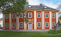 The so called Karolinerhuset, Caroliner House, old gymnasium school, where Carl Linnaeus went to school. In the Linné Linne Linnaeus park. Vaxjo town. Smaland region. Sweden, Europe.