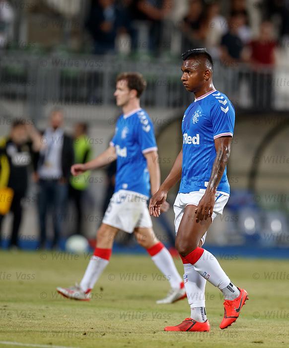 01.08.2019 Progres Niederkorn v Rangers: Alfredo Morelos at full time