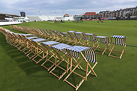 General view of deck chairs at the ground ahead of Yorkshire CCC vs Essex CCC, Specsavers County Championship Division 1 Cricket at Scarborough CC, North Marine Road on 6th August 2017