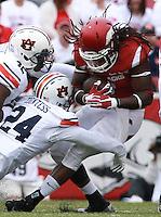 Arkansas Democrat-Gazette/BENJAMIN KRAIN --10/24/2015--<br /> Arkansas running back Alex Collins (3) runs in the first quarter of the Razorbacks 4OT victory against Auburn.