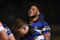 Levi Douglas of Bath Rugby looks on at a scrum. Anglo-Welsh Cup match, between Bath Rugby and Leicester Tigers on November 10, 2017 at the Recreation Ground in Bath, England. Photo by: Patrick Khachfe / Onside Images
