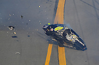Feb 7, 2009; Daytona Beach, FL, USA; ARCA RE/MAX Series driver J.R. Fitzpatrick crashes during the Lucas Oil Slick Mist 200 at Daytona International Speedway. Mandatory Credit: Mark J. Rebilas-