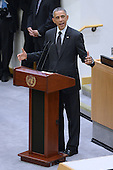 United States President Barack Obama delivers remarks on the Ebola epidemic at the United Nations in New York, NY, on September 25, 2014. <br /> Credit: Anthony Behar / Pool via CNP
