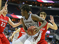 Washington, DC - March 10, 2018: St. Bonaventure Bonnies center Amadi Ikpeze (32) grabs a rebound during the Atlantic 10 semi final game between St. Bonaventure and Davidson at  Capital One Arena in Washington, DC.   (Photo by Elliott Brown/Media Images International)