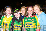 Michelle Carroll, Katie Giles Faha, Siobhain Clifford Keel, Claire Buckley Killarney and Shannon Campbell Faha welcoming the Kerry team to Killarney on Monday.