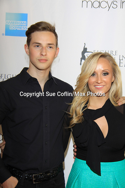 American Figure Skater Adam Rippon & American Gymnast Nastia Liukin at The 2013 Skating with the Stars- a benefit gala for Figure Skating in Harlem on April 8, 2013 at Trump Wollman Rink, New York City, New York. (Photo by Sue Coflin/Max Photos)