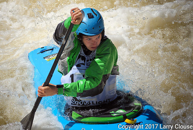 June 8, 2017 - Vail, Colorado, U.S. - C-1 paddler, Tad Dennis, is fully focused on Homestake Creek's upper section in the Steep Creek competition during the GoPro Mountain Games, Vail, Colorado.  Adventure athletes from around the world meet in Vail, Colorado, June 8-11, for America's largest celebration of mountain sports, music, and lifestyle.