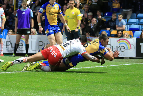 June 29th 2017, Headingley Carnegie, Leeds, England; Betfred Super League; Leeds Rhinos versus St Helens; Ryan Hall of Leeds Rhinos goes over and scores a try