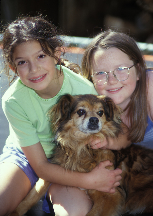 Little Girls and a dog